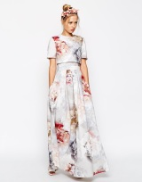 SALON Scuba Floral Crop Top Maxi Dresss