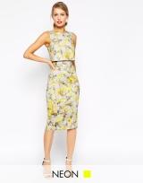 Neon Yellow Crop Top Pencil Dress