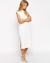 Midi Dress In Structured Knit With Zip Back