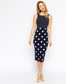 Polka Dot Midi Strap Back Body-Conscious Dress
