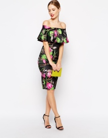 Floral Ruffle Top Midi Dress