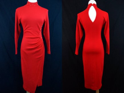 1980's red/gold bodyconn dress