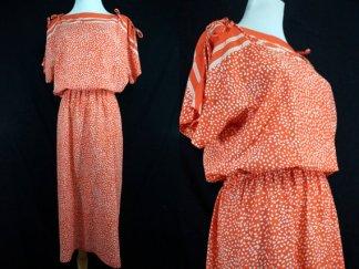 1970's silk polka dot secretary dress