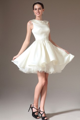 White Short Jewel Ball Gown Satin Sleeveless Dress