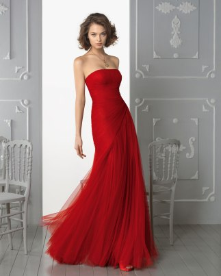 Red Charming Sheath/Column Strapless Ruching Floor-length Tulle Dress